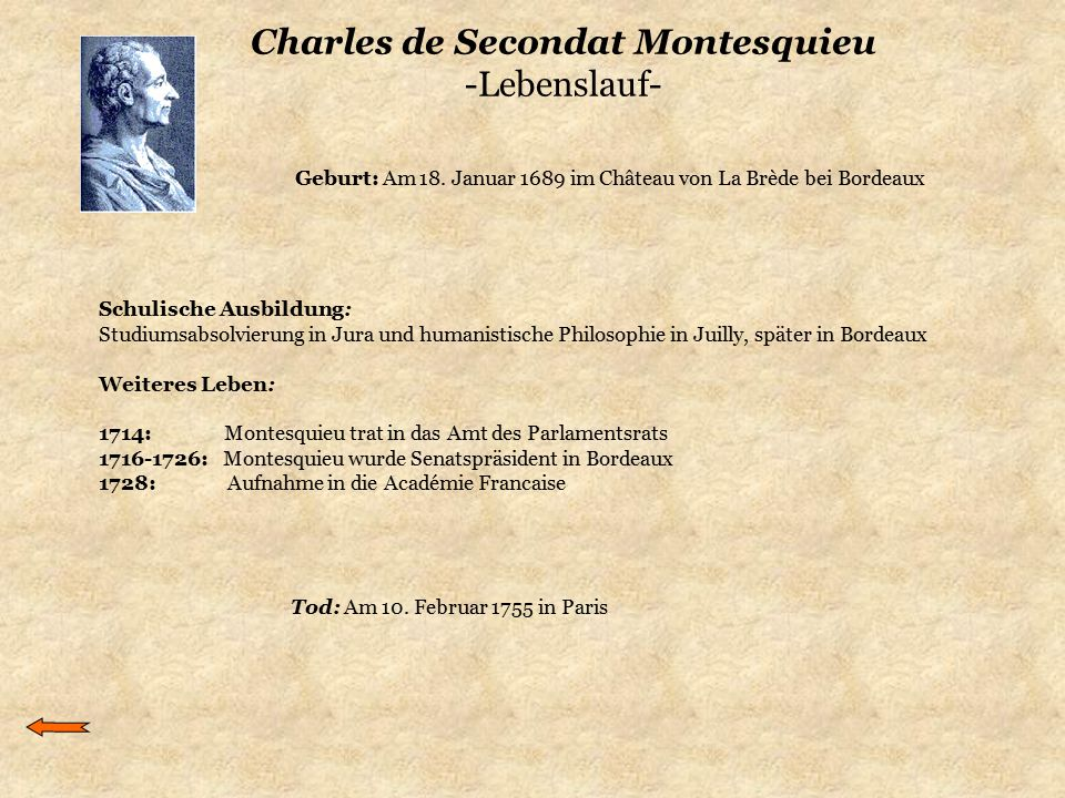 Charles de Secondat Montesquieu -Lebenslauf-