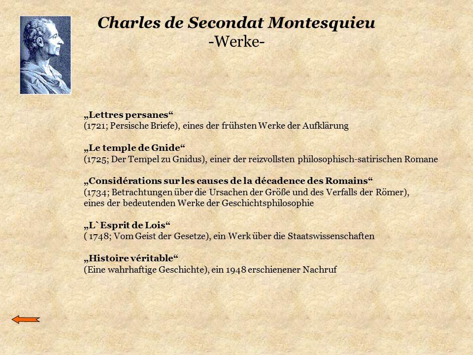 Charles de Secondat Montesquieu -Werke-