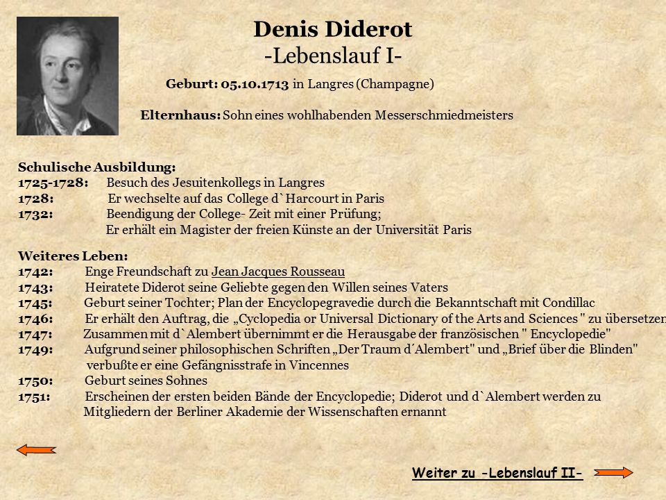 Denis Diderot -Lebenslauf I-