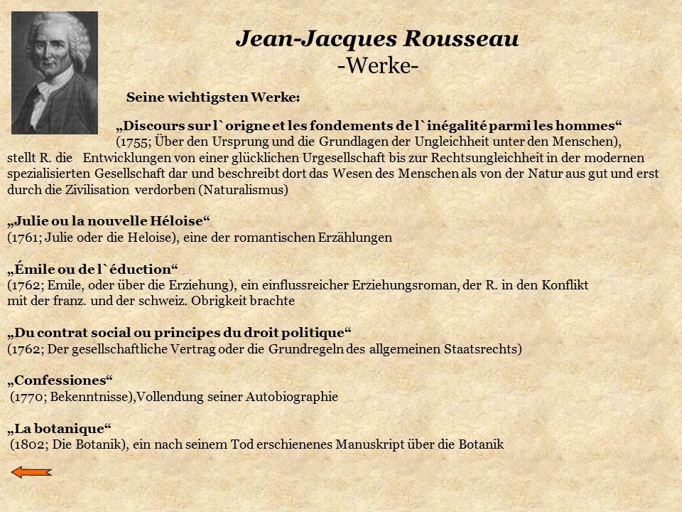 Jean-Jacques Rousseau -Werke-