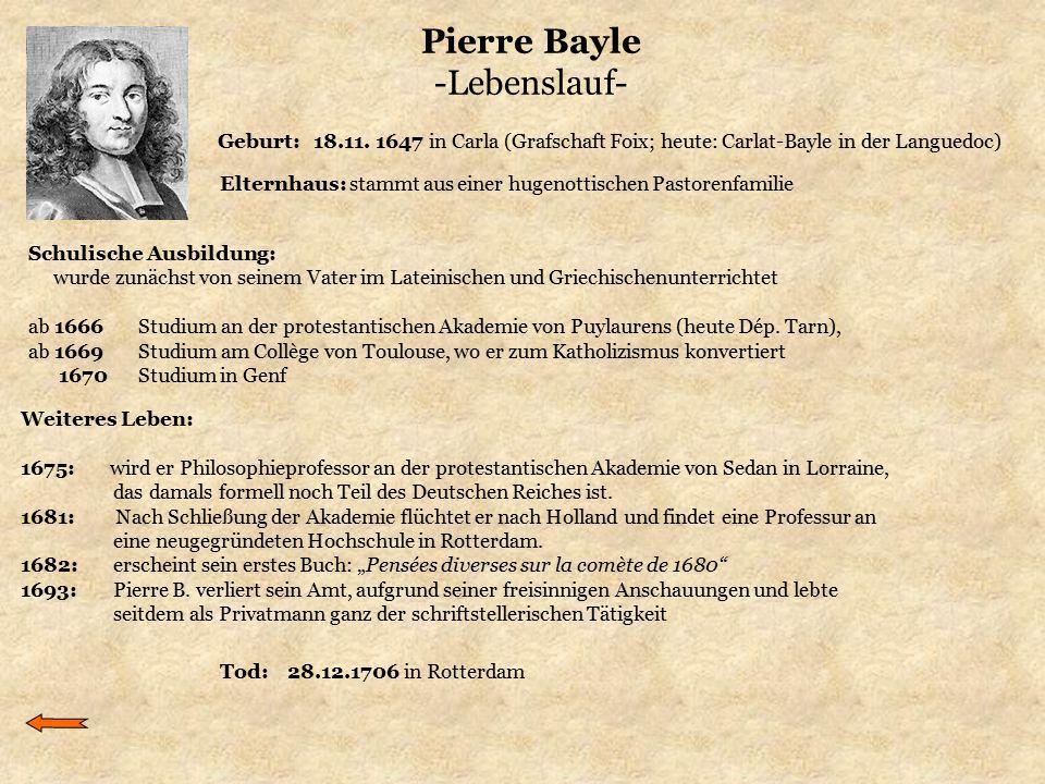 Pierre Bayle -Lebenslauf-