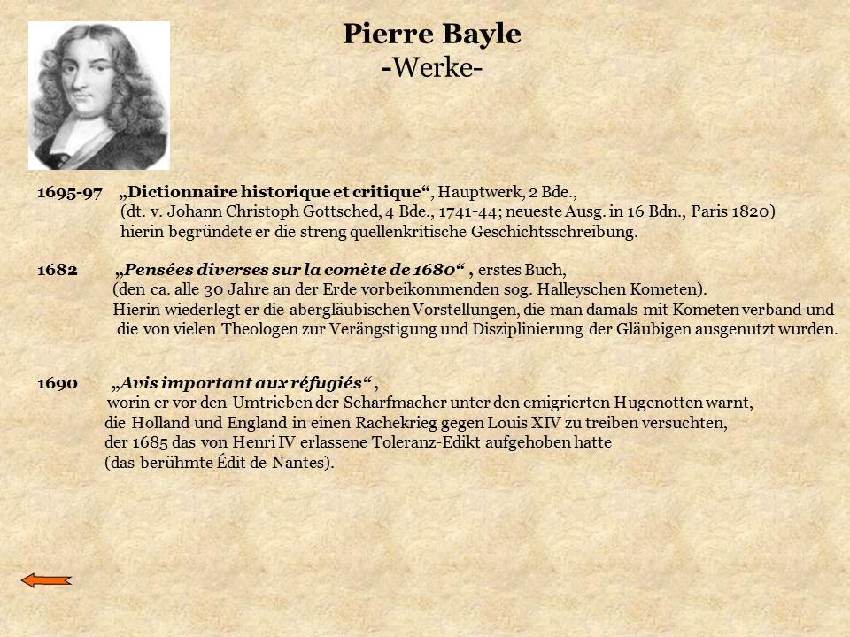 """Pierre Bayle -Werke- 1695-97 """"Dictionnaire historique et critique , Hauptwerk, 2 Bde.,"""