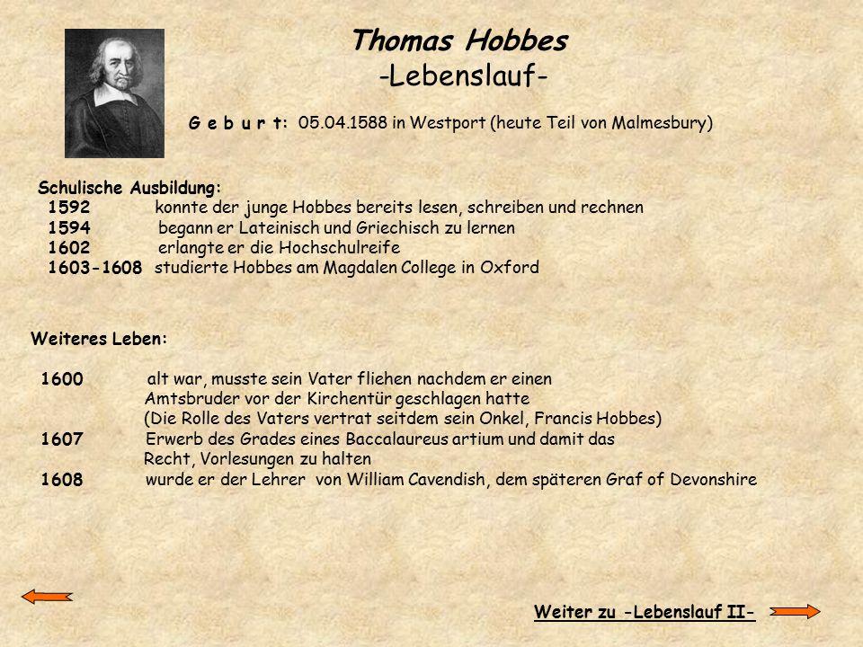Thomas Hobbes -Lebenslauf-