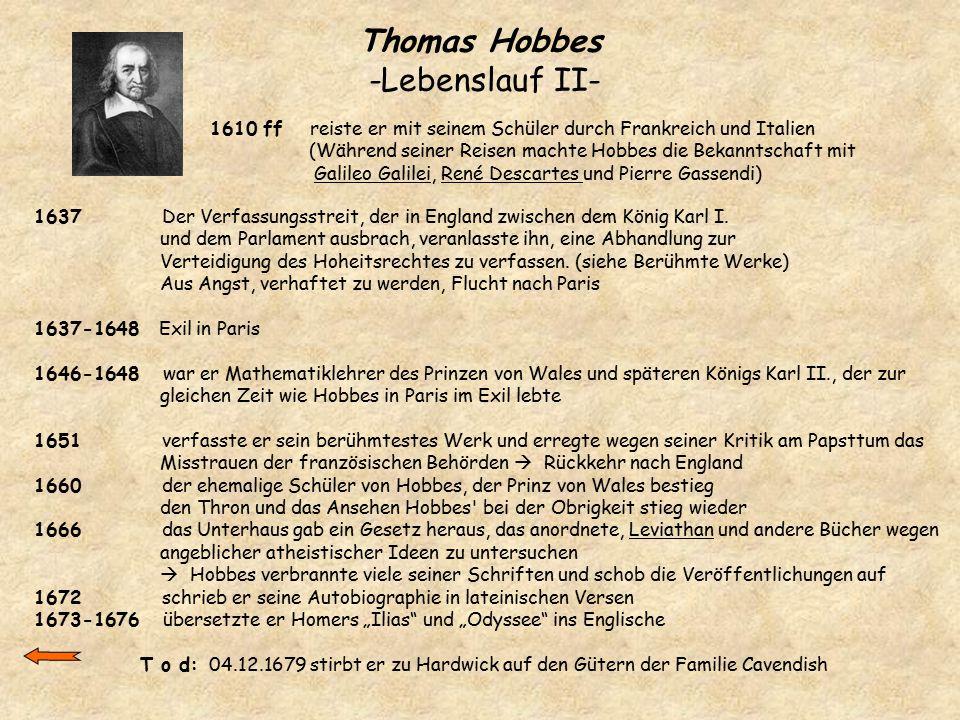 Thomas Hobbes -Lebenslauf II-