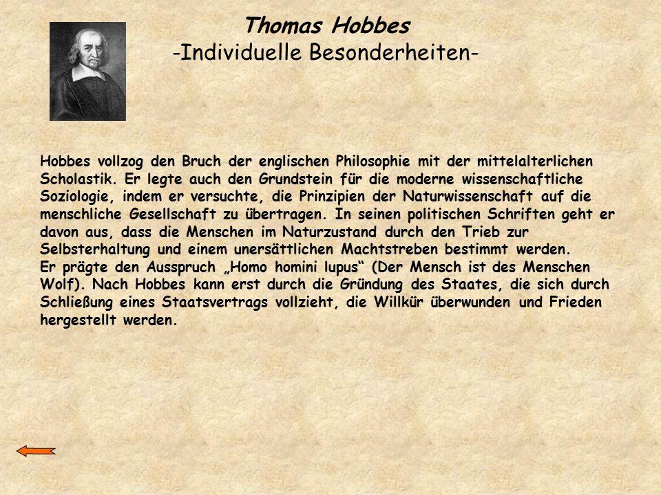Thomas Hobbes -Individuelle Besonderheiten-