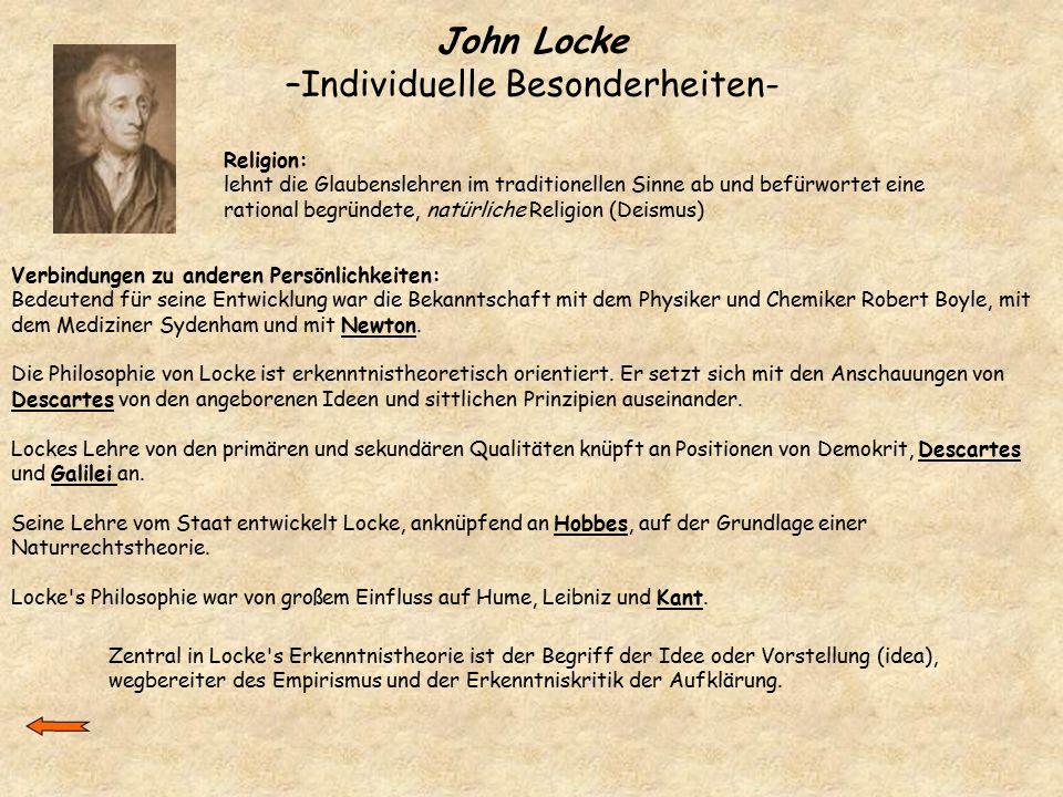 John Locke –Individuelle Besonderheiten-