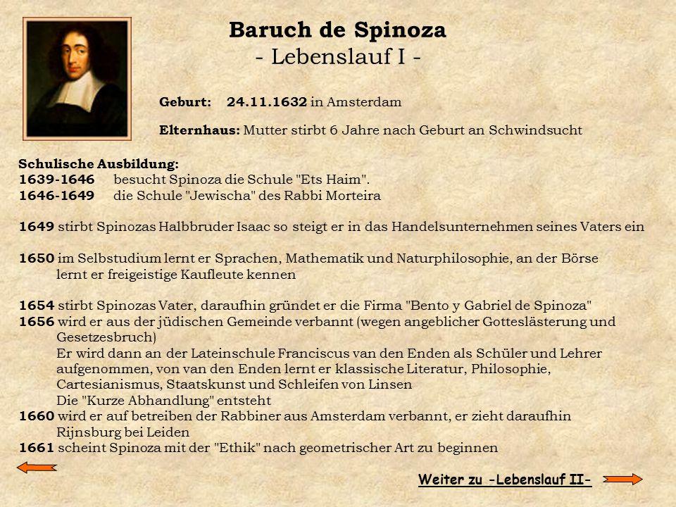 Baruch de Spinoza - Lebenslauf I -