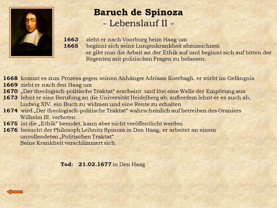 Baruch de Spinoza - Lebenslauf II -