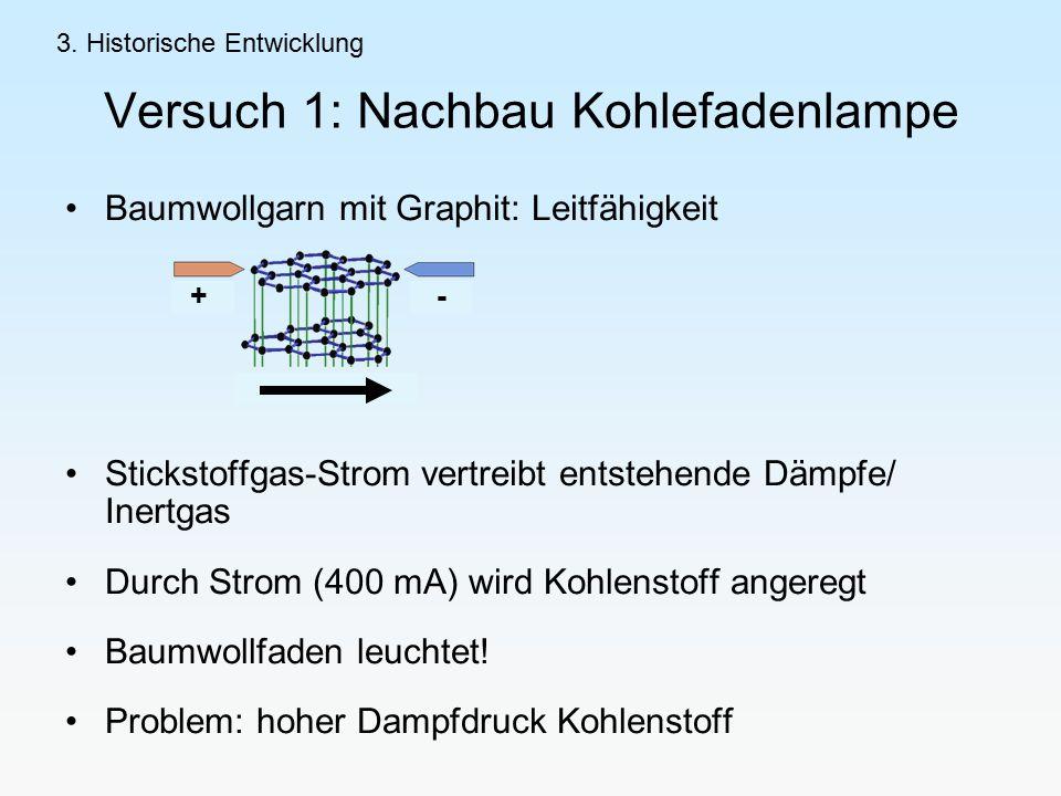 Versuch 1: Nachbau Kohlefadenlampe