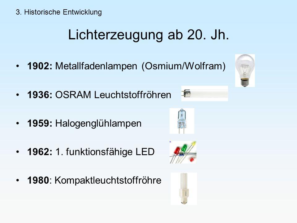 Lichterzeugung ab 20. Jh. 1902: Metallfadenlampen (Osmium/Wolfram)