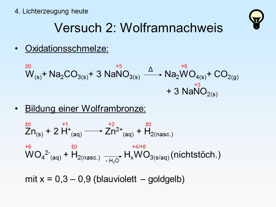 Versuch 2: Wolframnachweis