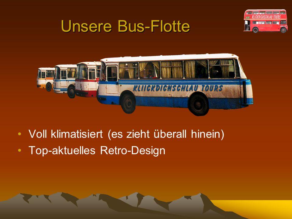 Unsere Bus-Flotte Voll klimatisiert (es zieht überall hinein)