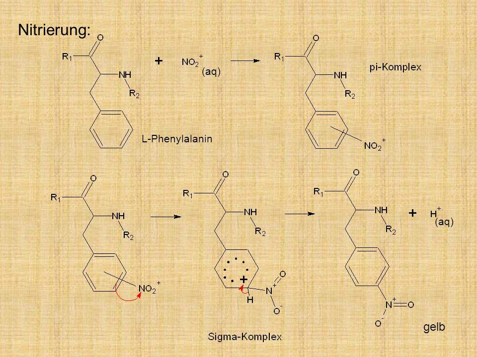 Nitrierung: (aq) L-Phenylalanin (aq) gelb gelb