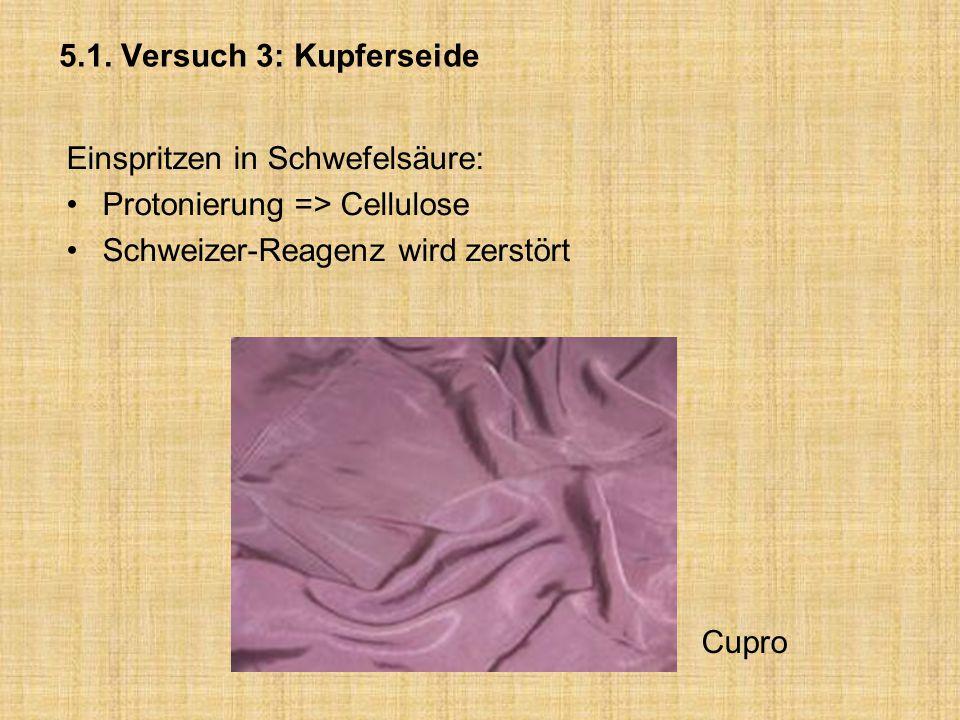 5.1. Versuch 3: Kupferseide Einspritzen in Schwefelsäure: Protonierung => Cellulose. Schweizer-Reagenz wird zerstört.