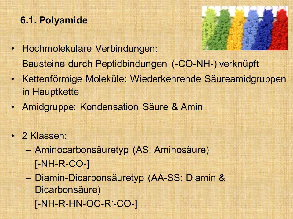 6.1. Polyamide Hochmolekulare Verbindungen: Bausteine durch Peptidbindungen (-CO-NH-) verknüpft.