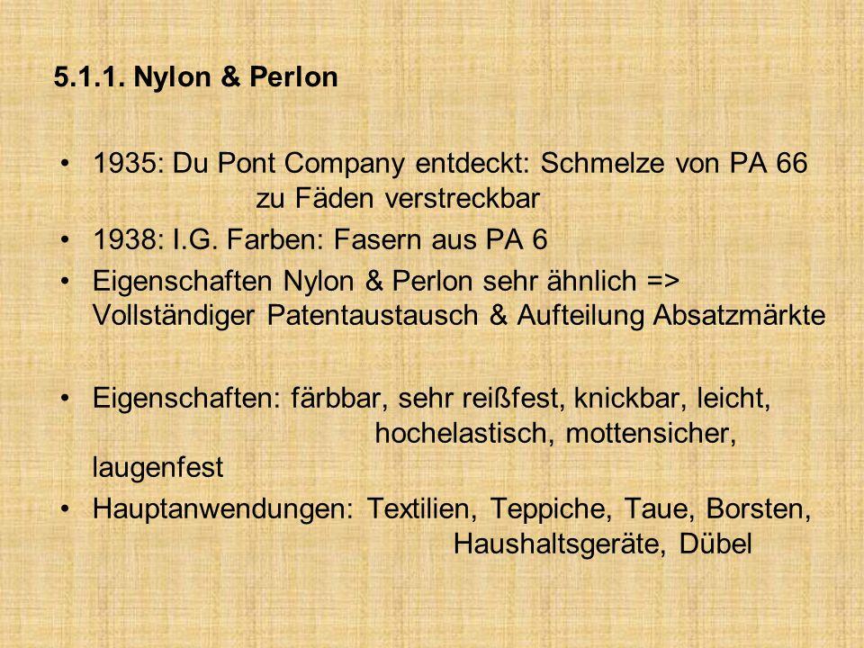 5.1.1. Nylon & Perlon 1935: Du Pont Company entdeckt: Schmelze von PA 66 zu Fäden verstreckbar.