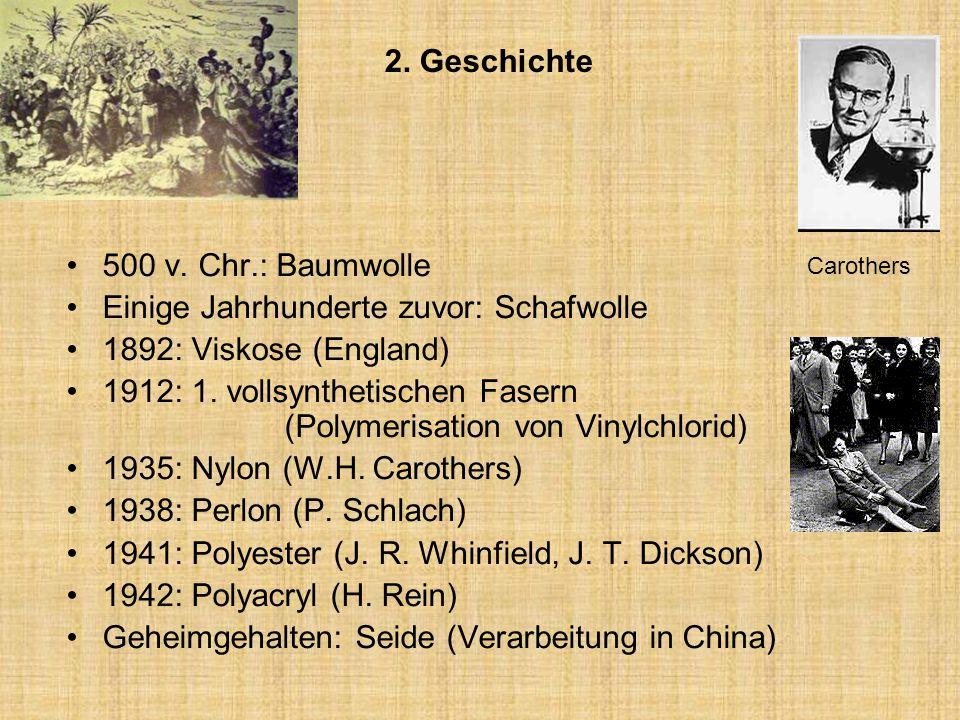 Einige Jahrhunderte zuvor: Schafwolle 1892: Viskose (England)