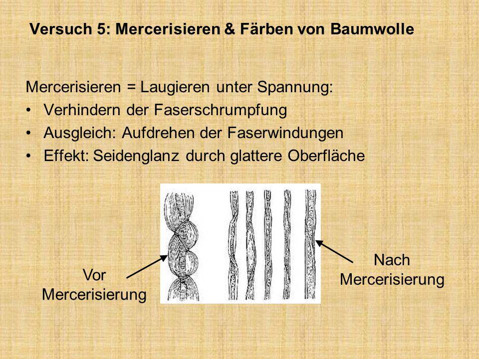 Versuch 5: Mercerisieren & Färben von Baumwolle