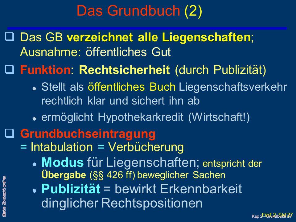 Das Grundbuch (2) Das GB verzeichnet alle Liegenschaften; Ausnahme: öffentliches Gut. Funktion: Rechtsicherheit (durch Publizität)