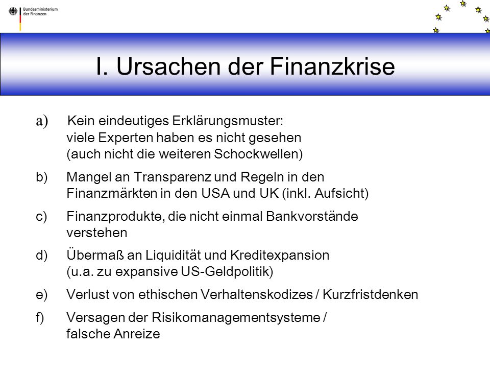I. Ursachen der Finanzkrise