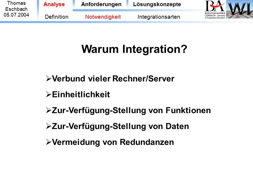 Warum Integration Verbund vieler Rechner/Server Einheitlichkeit
