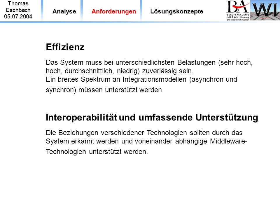 Thomas Eschbach. 05.07.2004. Analyse. Anforderungen. Lösungskonzepte.
