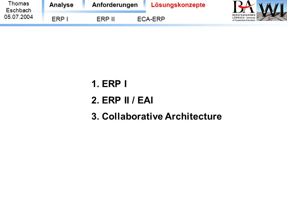 1. ERP I 2. ERP II / EAI 3. Collaborative Architecture