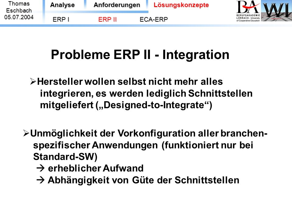 Probleme ERP II - Integration