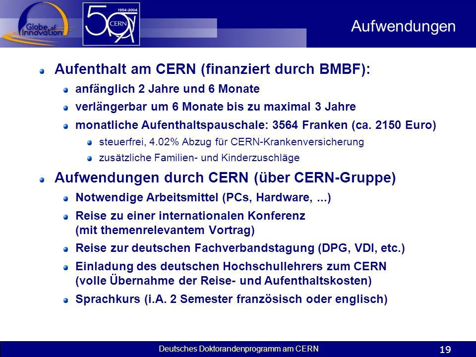 Aufwendungen Aufenthalt am CERN (finanziert durch BMBF):