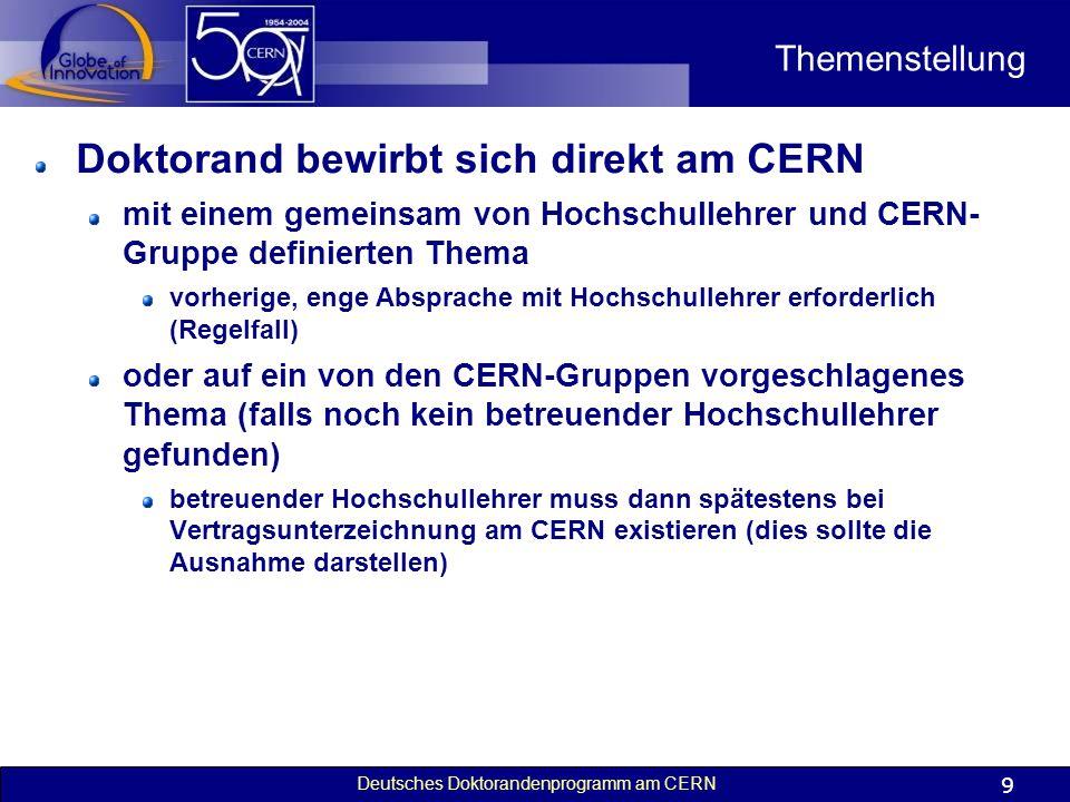 Doktorand bewirbt sich direkt am CERN