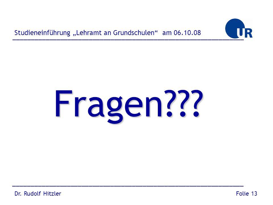 """Fragen Studieneinführung """"Lehramt an Grundschulen am 06.10.08"""