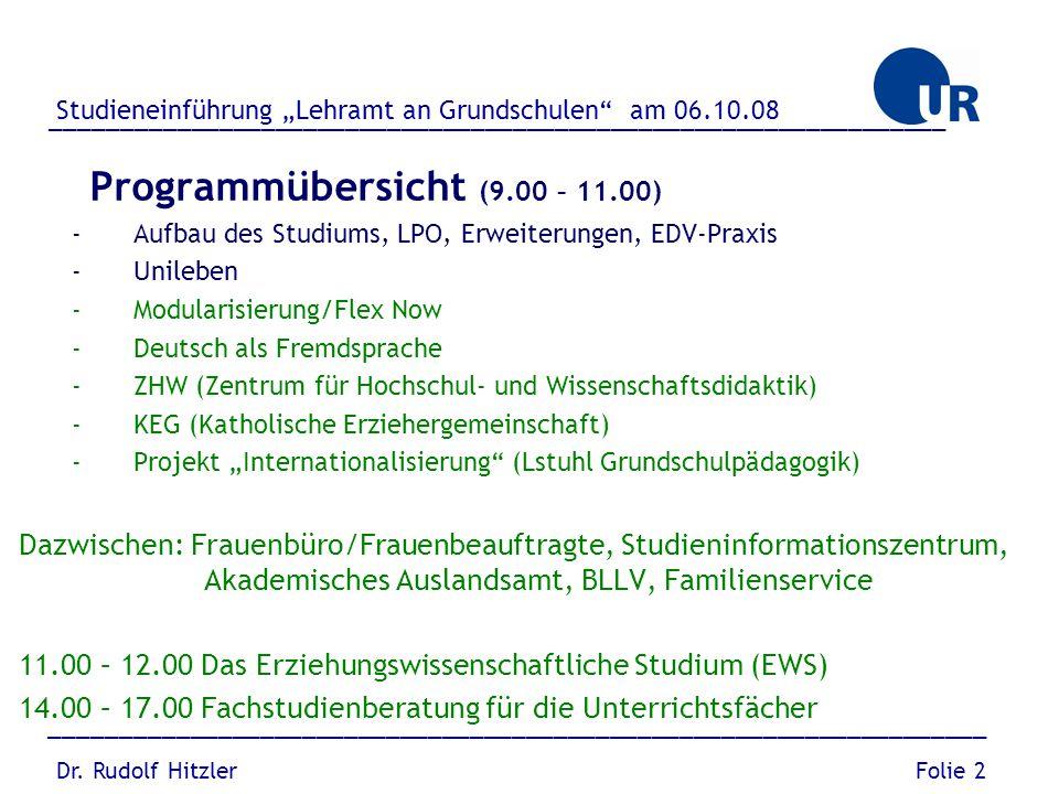 Programmübersicht (9.00 – 11.00)