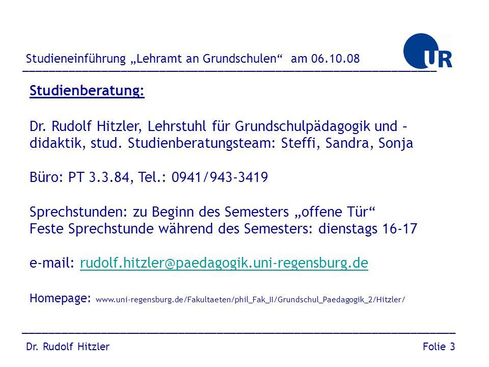 Dr. Rudolf Hitzler, Lehrstuhl für Grundschulpädagogik und –