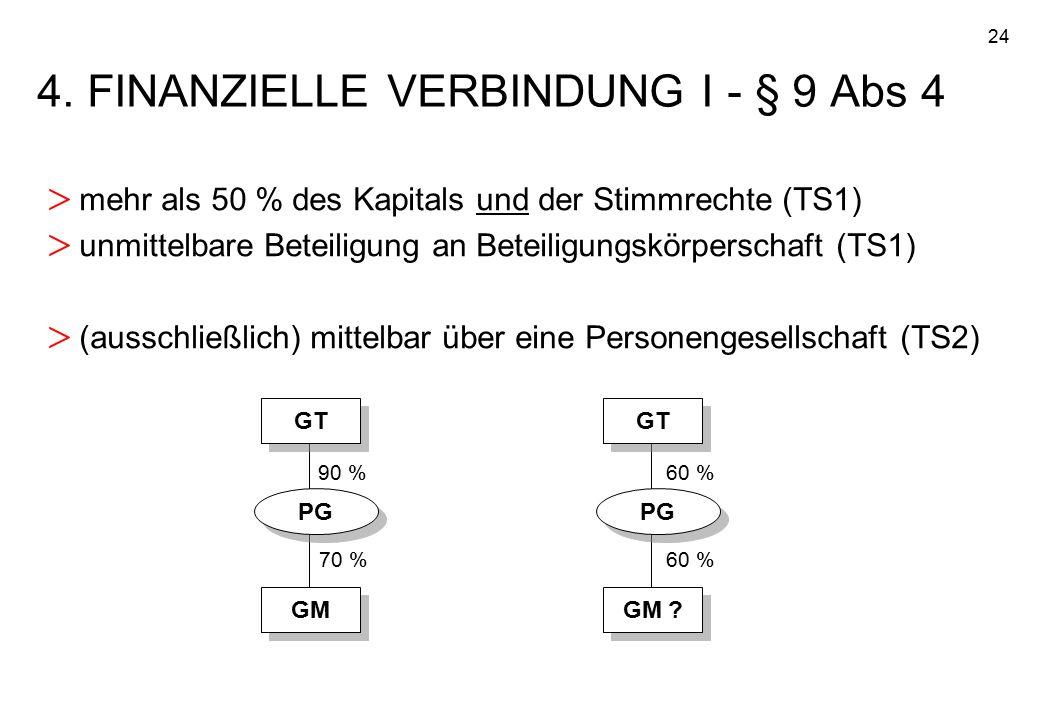 4. FINANZIELLE VERBINDUNG I - § 9 Abs 4