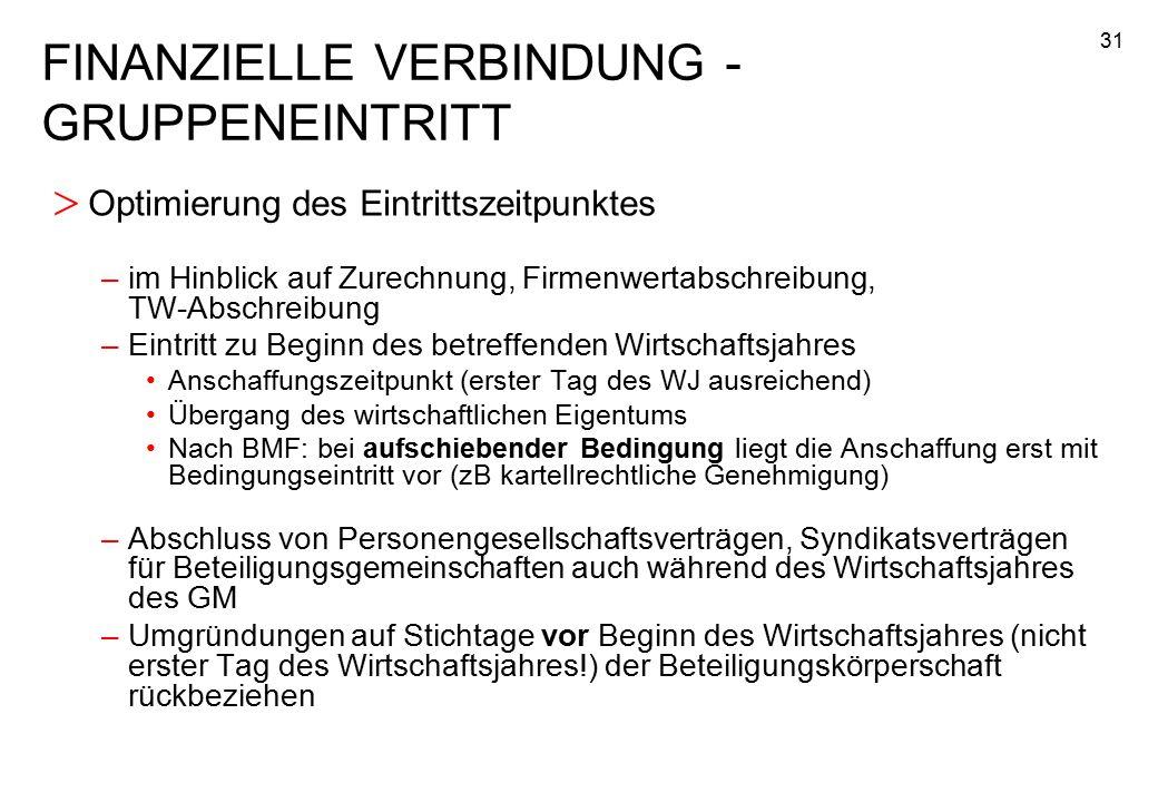 FINANZIELLE VERBINDUNG - GRUPPENEINTRITT