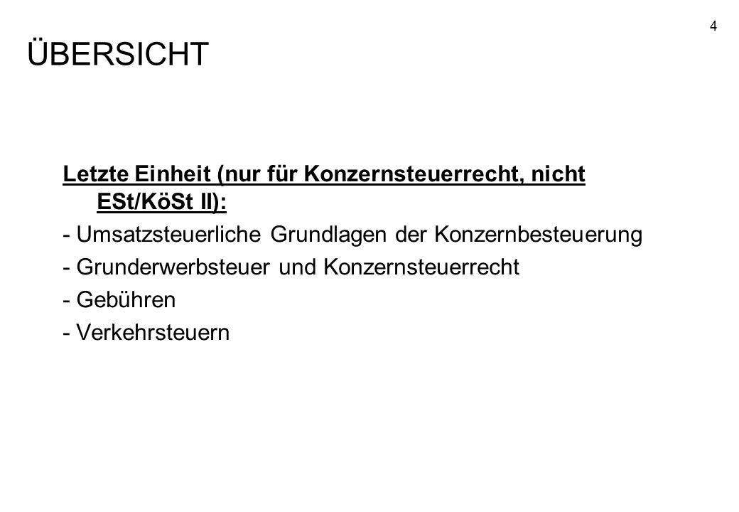 ÜBERSICHT Letzte Einheit (nur für Konzernsteuerrecht, nicht ESt/KöSt II): - Umsatzsteuerliche Grundlagen der Konzernbesteuerung.