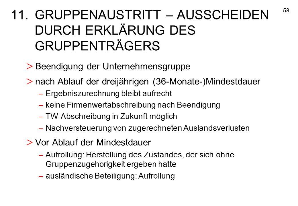 11. GRUPPENAUSTRITT – AUSSCHEIDEN DURCH ERKLÄRUNG DES GRUPPENTRÄGERS