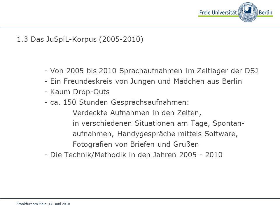 - Von 2005 bis 2010 Sprachaufnahmen im Zeltlager der DSJ