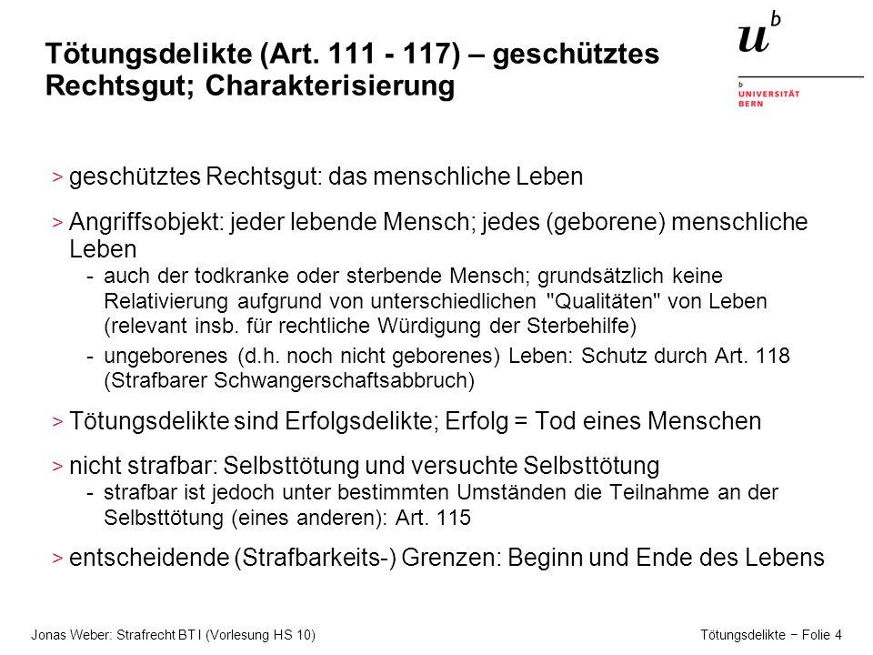 Tötungsdelikte (Art. 111 - 117) – geschütztes Rechtsgut; Charakterisierung