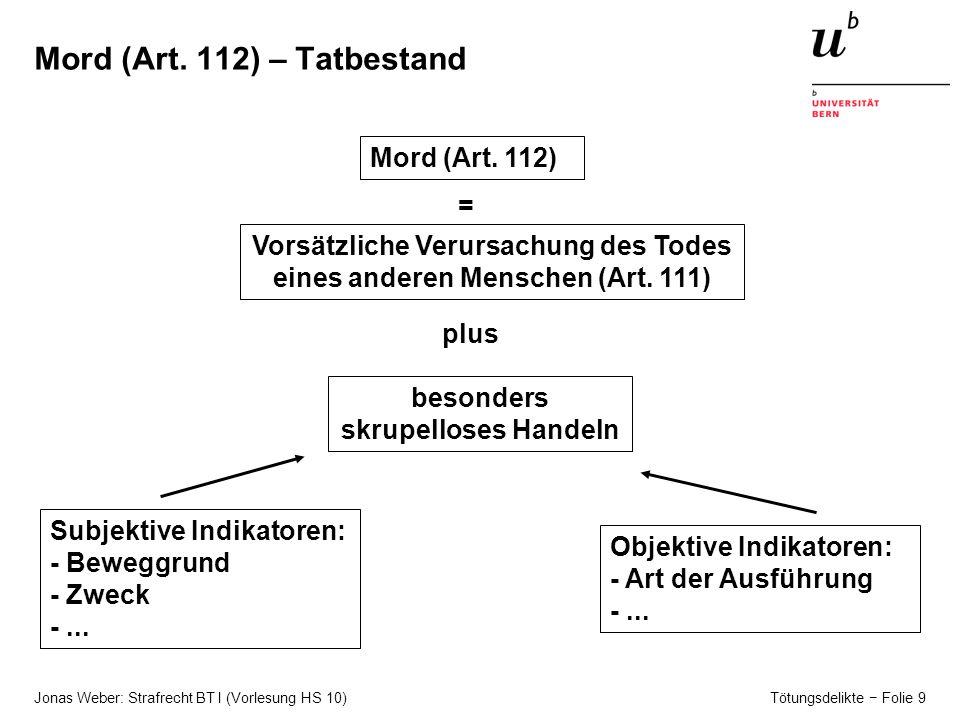 Mord (Art. 112) – Tatbestand