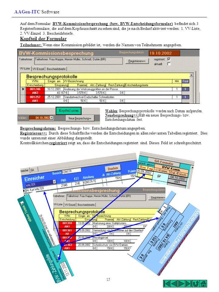 AAGen-ITC Software Kopfteil der Formular