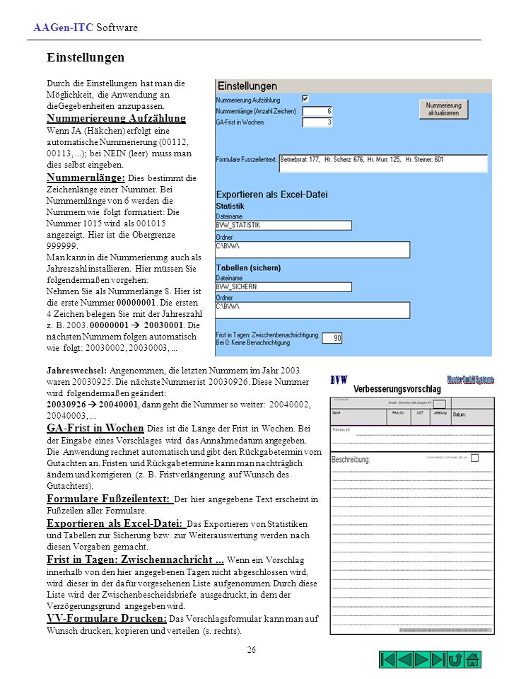 Einstellungen AAGen-ITC Software