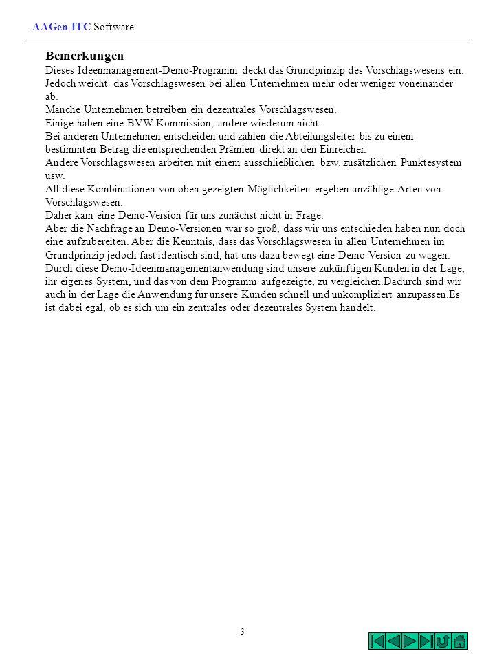 Bemerkungen AAGen-ITC Software