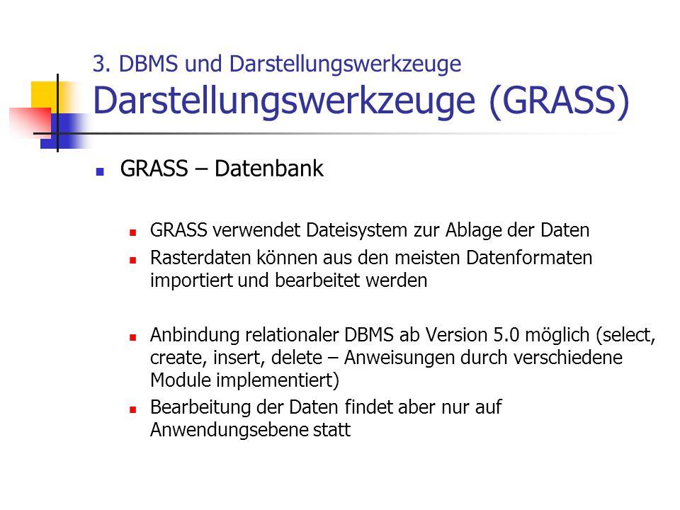 3. DBMS und Darstellungswerkzeuge Darstellungswerkzeuge (GRASS)