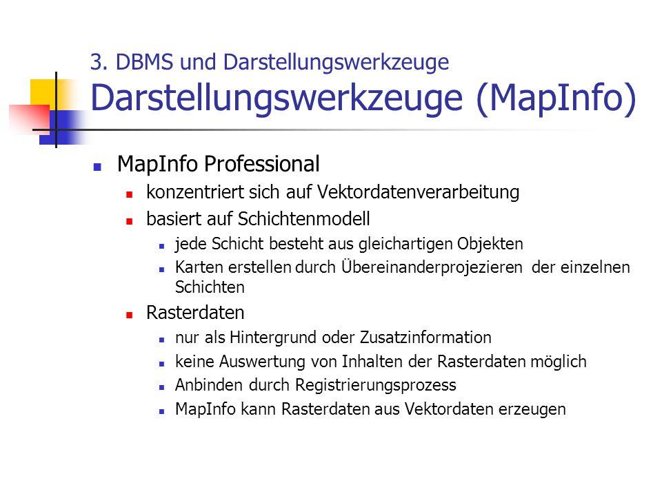 3. DBMS und Darstellungswerkzeuge Darstellungswerkzeuge (MapInfo)