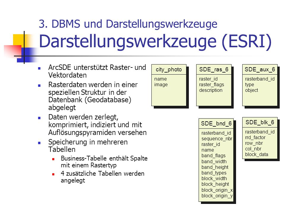 3. DBMS und Darstellungswerkzeuge Darstellungswerkzeuge (ESRI)