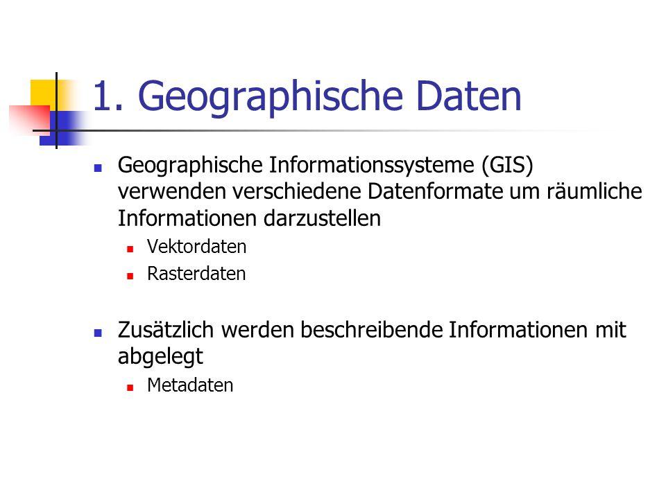 1. Geographische Daten Geographische Informationssysteme (GIS) verwenden verschiedene Datenformate um räumliche Informationen darzustellen.