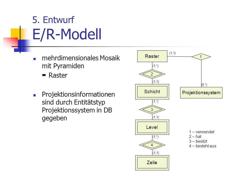5. Entwurf E/R-Modell mehrdimensionales Mosaik mit Pyramiden  Raster