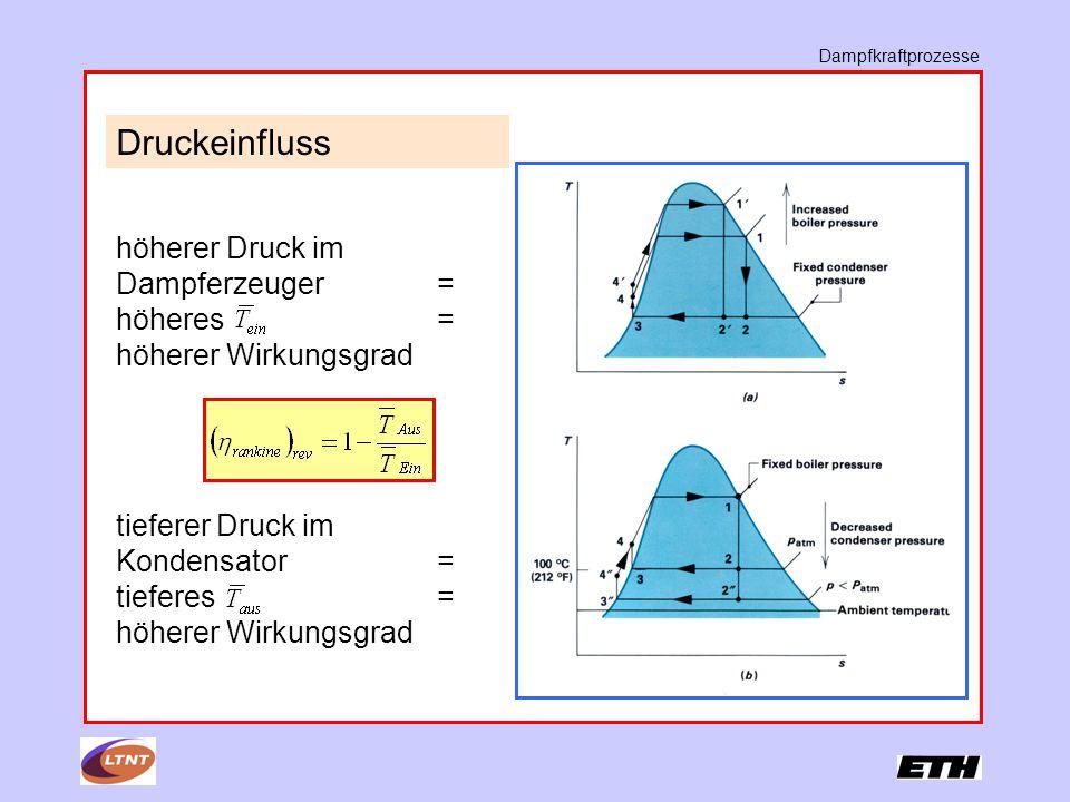 Dampfkraftprozesse Druckeinfluss. höherer Druck im Dampferzeuger = höheres = höherer Wirkungsgrad.