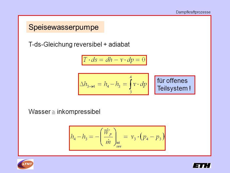 Speisewasserpumpe T-ds-Gleichung reversibel + adiabat